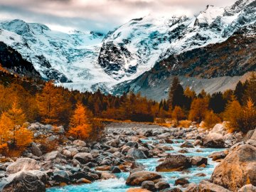 The Alps Switzerland - River near mountains.