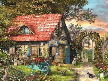 Casa en el jardin. - Rompecabezas para niños: una casa.
