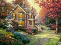 maison dans un beau jardin