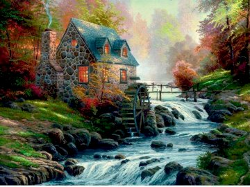 stone mill - painting showing a stone mill