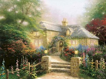stone house - painting showing a stone house against a background of greenery