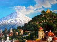 Ηφαιστειακό βουνό. - Τοπίο παζλ.
