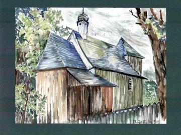 Kościół św. Mikołaja w Ostrzeszowie - Obraz Marii Gostylli Pachuckiej, papier, akwarela, 27 x 35 cm.