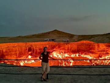 turkmenistan - gate to hell volcano crater in the desert