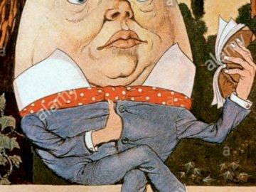 Humty dumpty - jajo na murze z nogami i rękami Układanka z postacia z wierszyka Humpty dumpty