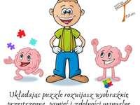Teamek Trenuje Mózg - Trenuj i Ty! - Puzzle zawierające ciekawostkę na temat tego w jaki sposób układanie puzzli wspiera nasz rozwój