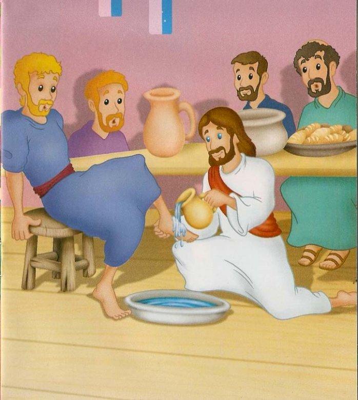 Gründonnerstag - Moment, in dem Jesus die Füße seiner Jünger wäscht (4×5)