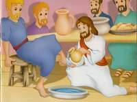 Holy Thursday - Moment when Jesus washes the feet of his disciples.