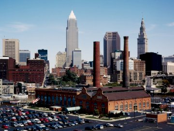 Neighborhood in Cleveland, Ohio - USA - Neighborhood in Cleveland, Ohio - USA. Flats is a rebuilt district located on the banks of the Cuyah