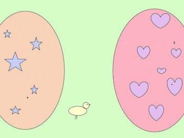 Wielkanoc - Jajka wielkanocne po środku stoi kurczaczek jest w kolorach pastelowych ponieważ je lubię