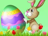 Hare with an Easter egg
