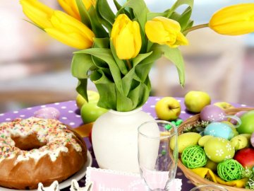 Easter table - Easter table, tulips, Easter cake
