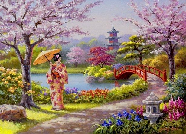 In een Japanse tuin - Bloemen in de Japanse tuin (10×10)
