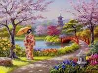 Într-o grădină japoneză.