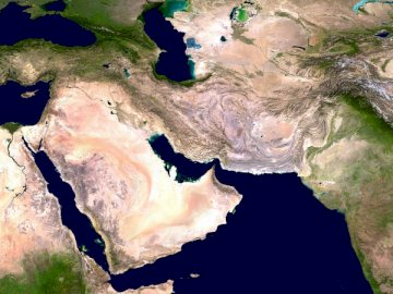 Western Asia, the world's - Satellite of water and land illustration. United States