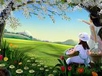 Easter landscape. - Easter jigsaw puzzle.