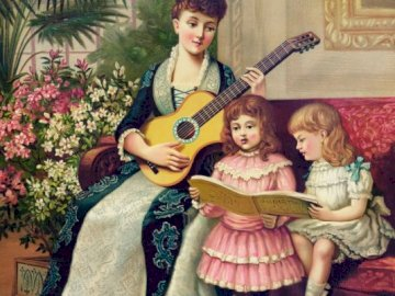 Musical family - Family with music, mother with children