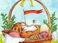bénédiction - Panier de Pâques éléments du panier de Pâques, oeufs peints, oeufs peints Panier de Pâques