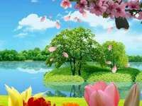 Πουλί και λουλούδια