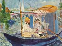 claude monet - edouard manet painted monet working on his boat