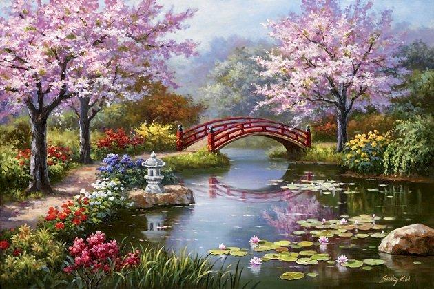 Japanische Landschaft - Malerei: Japanische Landschaft (11×9)