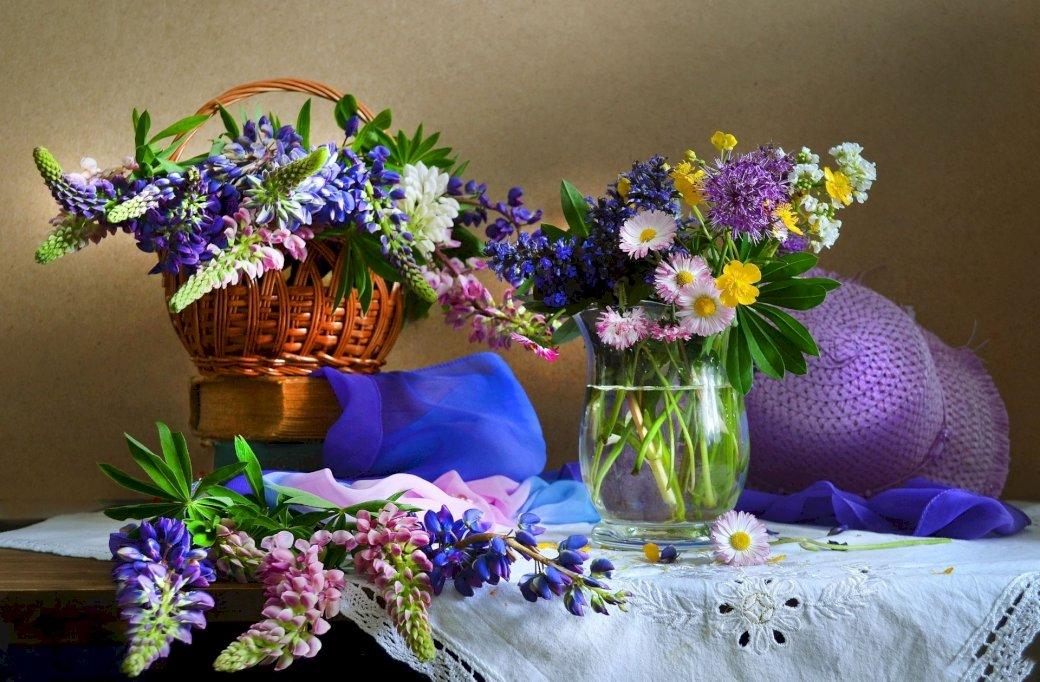 Kolorowe Bukiety Kwiatów Wazon,Kosz ,Kapelusz - Kolorowe Bukiety Kwiatów, Kosz ,Wazon,Kapelusz (8×8)