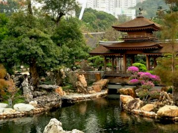 chinese garden - arrange puzzles showing the landscape of a Chinese garden