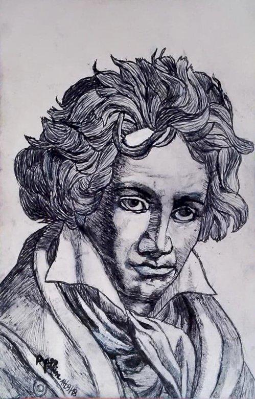 Beethoven - Beethoven. Portret van Beethoven door kunstenaar Apolline. Een werk van Apolline (8×8)
