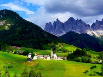 mountains, mountain range, village, clouds, grass