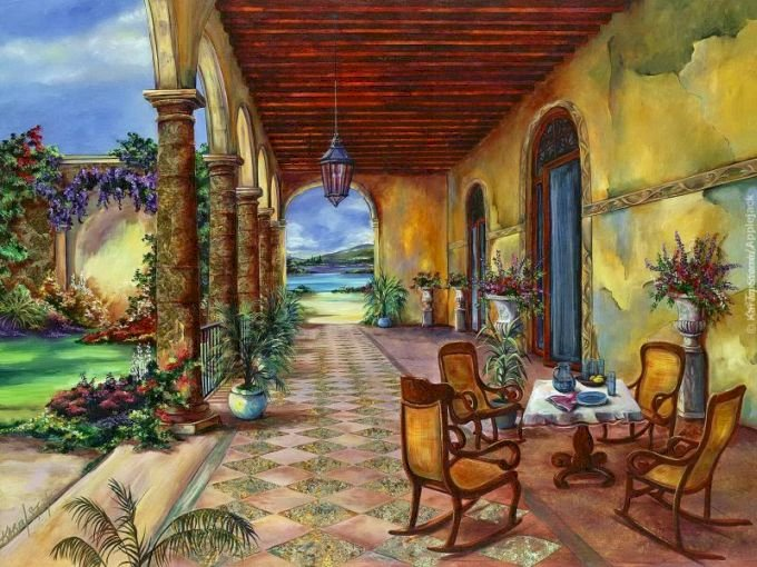 живопис - Живопис, къща с тераса, градина, пейзаж (10×8)
