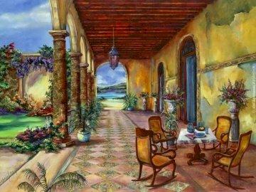 pintura - Pintura, casa con terraza, jardín, paisaje.