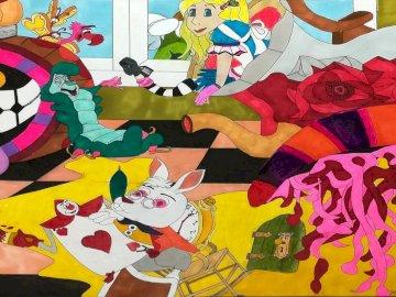Alice au zahlt des merveilles - une oeuvre d'Apolline Oeuvre de l'illustratrice jeunesse Apolline Alice au zahlt des merve