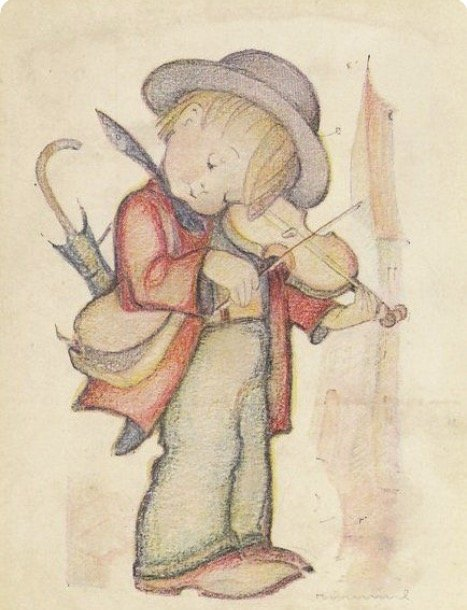 malý houslista cvičí puzzle