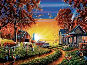 Twilight on the farm. - Landscape puzzle.