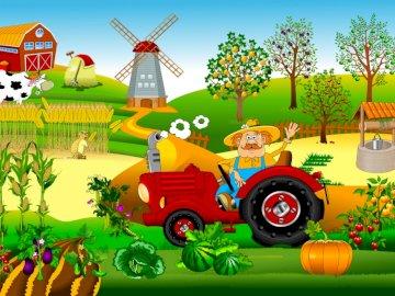 Praca rolnika na wsi - Ułóż puzzle i opowiedz co widzisz na obrazku