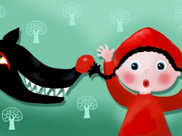 riding hood and the wolf - little hood and the black wolf