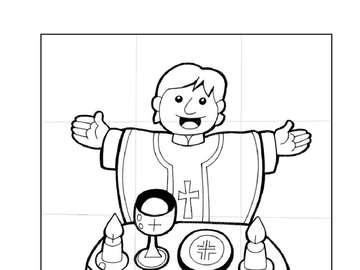 Santa misa - Señor contigo, rompecabezas para niños, grado 1, para una lección de religión. Preocupación por