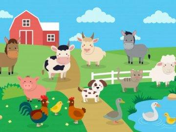 Mieszkańcy wsi - Puzzle dla dzieci ze zwierzętami mieszkającymi na wsi.