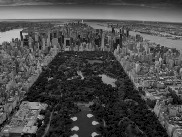 A view above Central Park - Grayscale photo of Central Park, New York. Switzerland