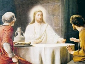 The risen Jesus appears to his disciples - Jesus with his disciples in Emmaus