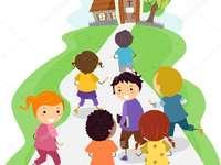 Barn som går i kyrkan