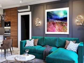 Salon z kolorową kanapą - Aranżacja salonu,  narożnik