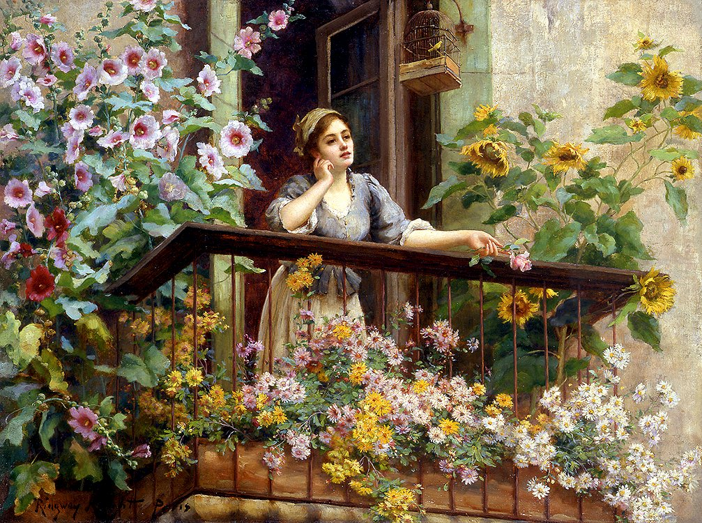 The thoughtful woman - A woman is leaning out of the window (15×15)