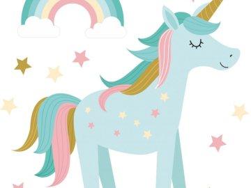 unicornio - Unicornio sobre un fondo de arcoiris y estrellas