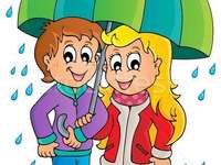 Regen - Kinder mit Regenschirm