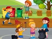 καθάρισμα - Παιδικά παζλ. Βάλτε μαζί την εικόνα.