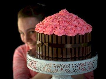 Pastel de chocolate helado rosa. - Pastel floral rosa y blanco. Waco Texas