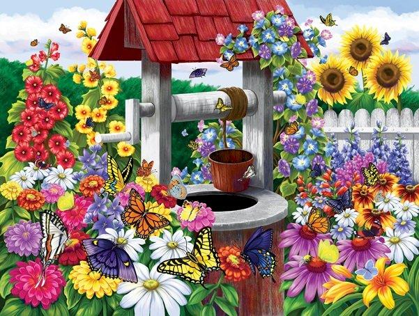 Bloemen in de tuin - Puzzel. Bloemen. Garden (10×10)