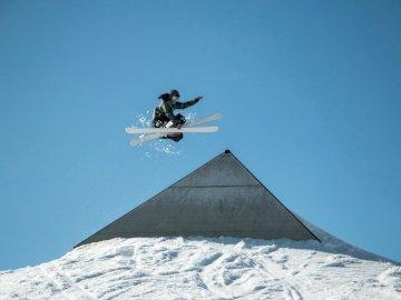Passion, sport - Person playing ski at daytime. Zermatt, Switzerland