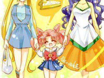 Sailor moon - Tsukino family - The Usagi family - Ikuko Tsukino, Usagi Tsukino and Chibiusa